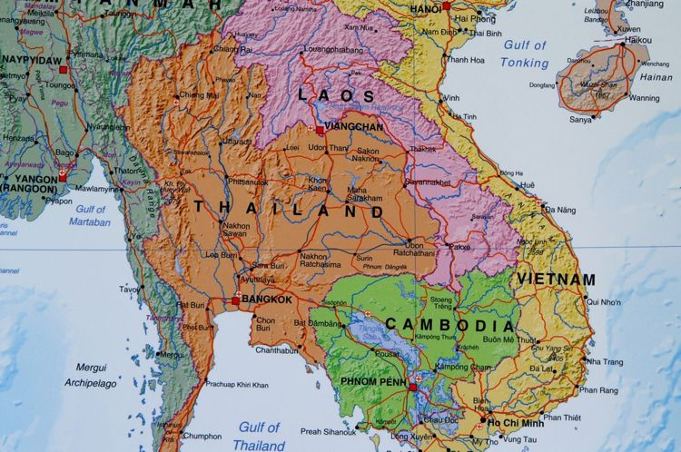 Azja Poludniowo Wschodnia Mapa Scienna Azji Polityczna 1 7 5 Mln